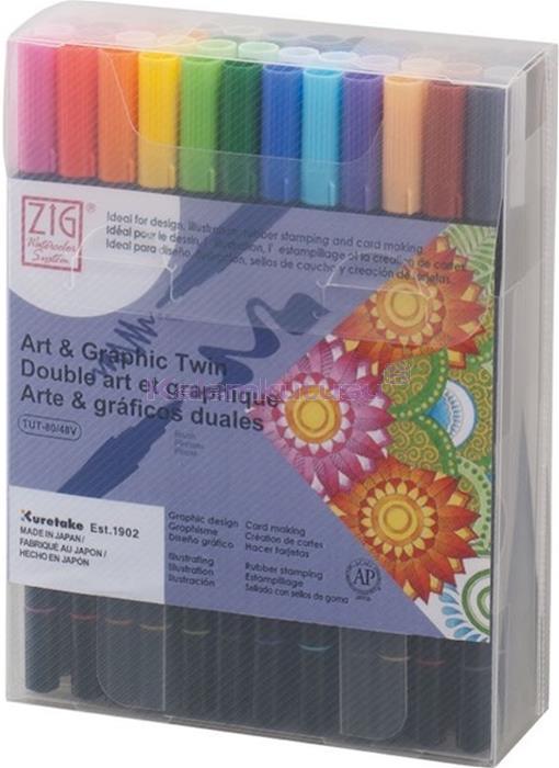KURETAKE ZIG ART AND GRAPHIC TWIN-ÇİFT UÇLU 48 RENK SET Flexible Brush ve 0.8 Fine Kalem