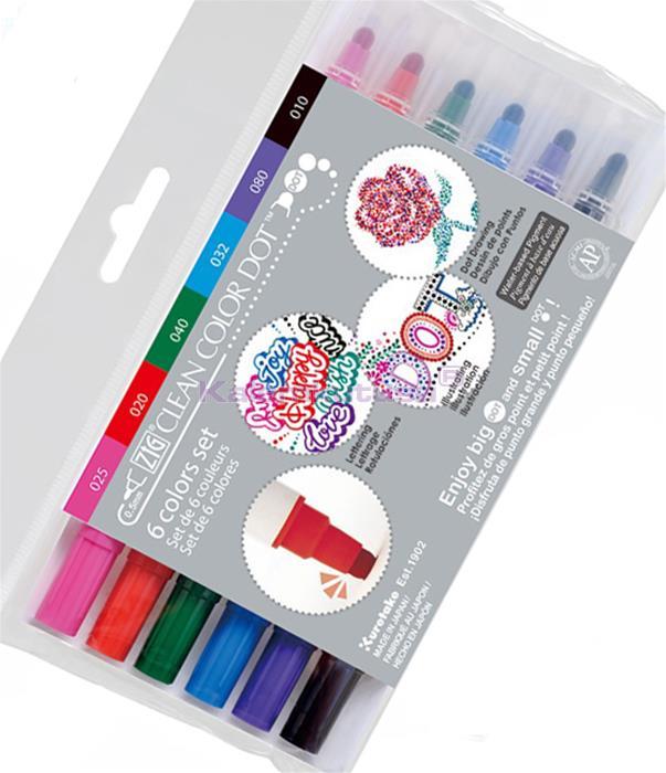 KURETAKE ZIG CLEAN COLOR DOT DUAL - Çift Uçlu 6 Renk Set Flexible Nokta Kalemi ve 0.5 Fine Kalem