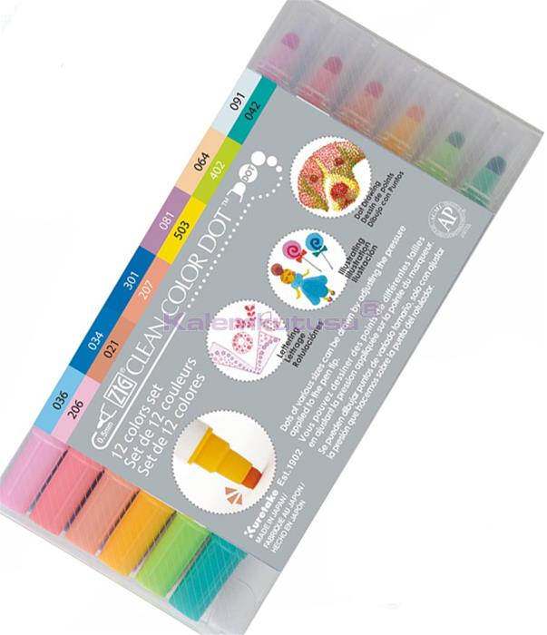 KURETAKE ZIG CLEAN COLOR DOT DUAL - Çift Uçlu 12 Renk Set Flexible Nokta Kalemi ve 0.5 Fine Kalem