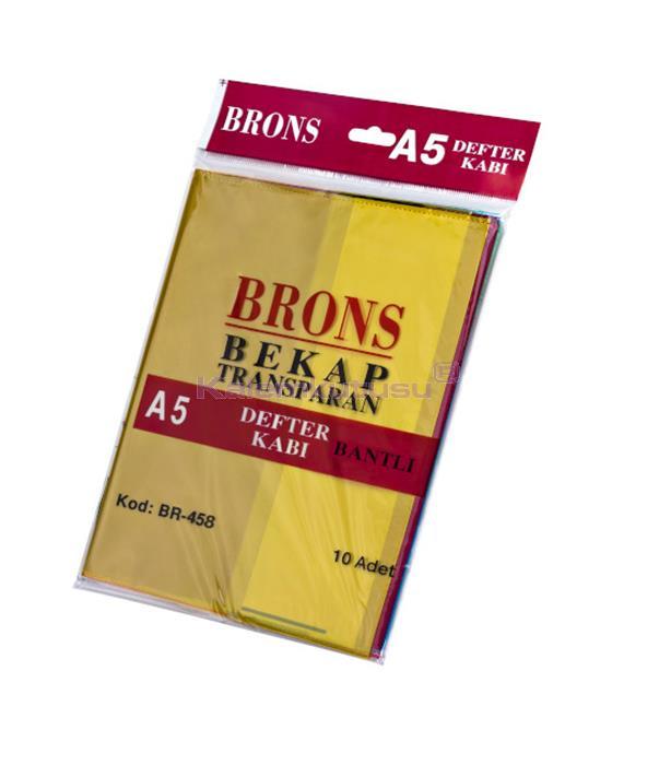 Brons BR-458 A5 Renkli ve  Bantlı Defter Kabı 10'lu