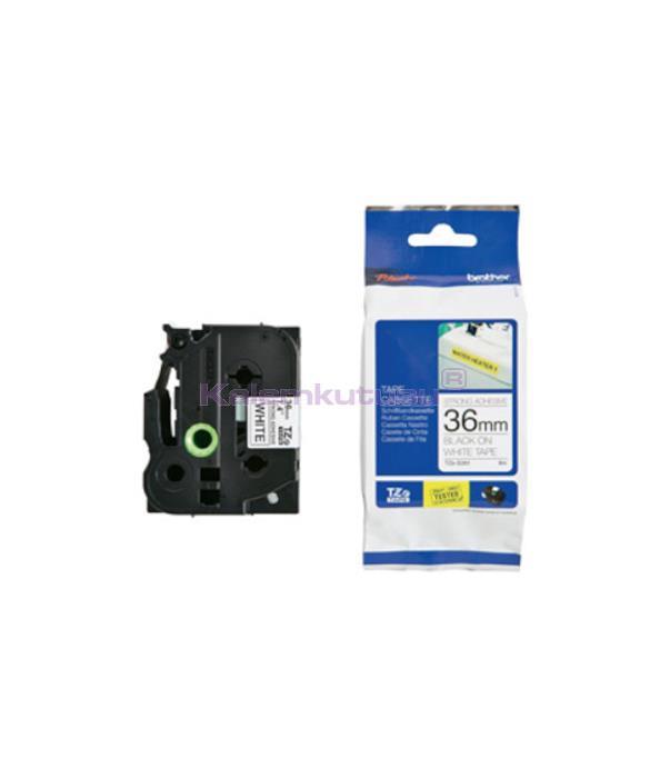 Brother P-touch Tz-Tape 36 mm Beyaz Üzerine Siyah Güçlü Yapışkan TZS261