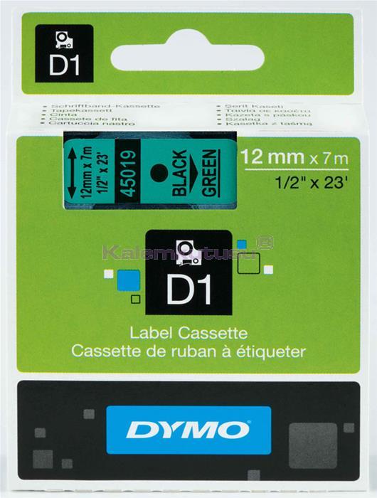 DYMO LabelManager serisi D1 yedek şerit - 12mm x 7mt - Yeşil/Siyah %30 İndirimli Fiyatlarla