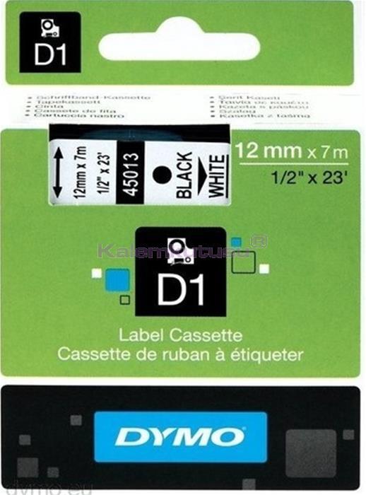 DYMO LabelManager serisi D1 yedek şerit - 12mm x 7mt - Beyaz/Siyah %30 İndirimli Fiyatlarla