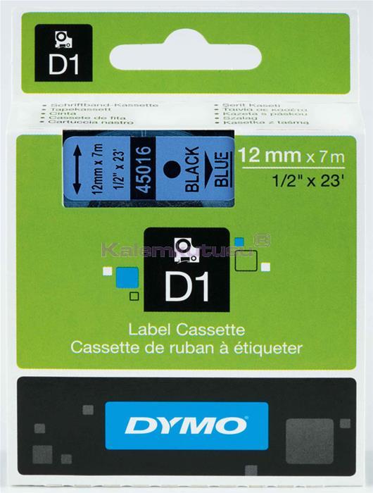 DYMO LabelManager serisi D1 yedek şerit - 12mm x 7mt - Mavi/Siyah %30 İndirimli Fiyatlarla