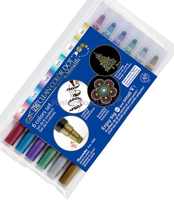 KURETAKE ZIG CLEAN COLOR DOT DUAL - Çift Uçlu Metalik Renk Set Flexible Nokta Kalemi ve 0.5 Fine Kalem