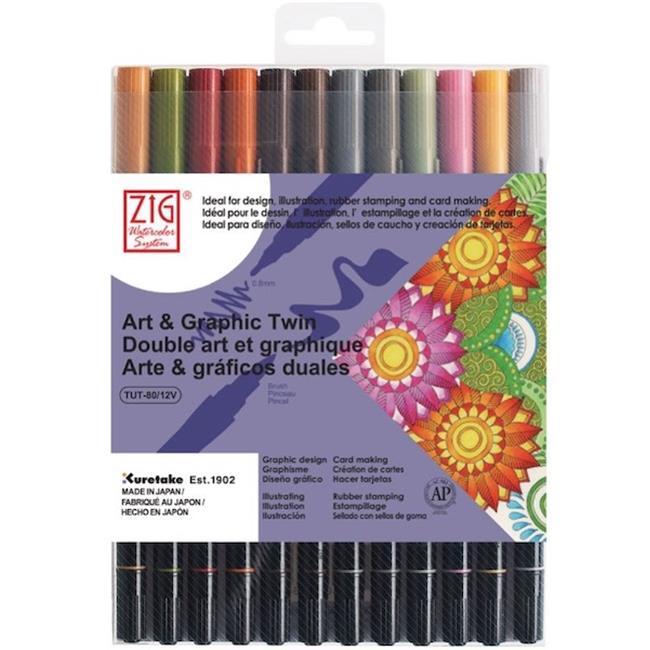 KURETAKE ZIG ART AND GRAPHIC TWIN-ÇİFT UÇLU 12 RENK SET Flexible Brush ve 0.8 Fine Kalem