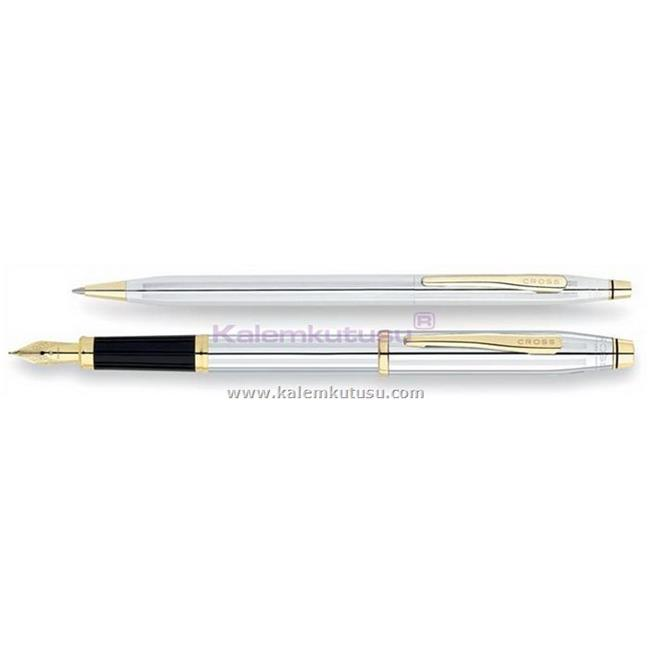 Cross Century Classic Medalist Parlak Krom Dolma Kalem + Tükenmez Kalem Takım Tek Kalem Fiyatına %30 İndirimli Fiyatlarla