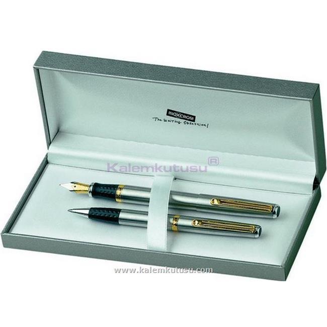 Inoxcrom Elegance Mat Krom/Altın Dolma Kalem + Tükenmez Kalem  %30 İndirimli Fiyatlarla