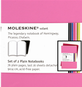 MOLESKINE VOLANT SET OF 2 PLAIN NOTEBOOK 9x14 cm - pink