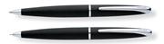 CROSS ATX Mat Siyah/Parlak Krom Tükenmezkalem + 0.7mm M.Kurşun Kalem Set