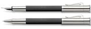 Graf von Faber-Castell Guilloche Desen Siyah Dolma Kalem + Roller Kalem Set