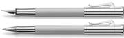Graf von Faber-Castell Guilloche Desen Rodyum Dolma Kalem + Roller Kalem Set