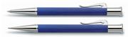 Graf von Faber-Castell Guilloche Desen İndigo Mavi Tükenmez Kalem + Versatil Kalem Set