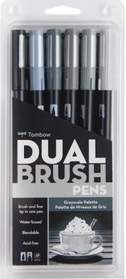 TOMBOW BRUSH PEN DUAL AB-T SET GRAYSCALE 6CGR