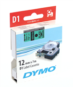 DYMO LabelManager serisi D1 yedek şerit - 12mm x 7mt - 1x5adet Yeşil/Siyah