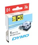 DYMO LabelManager serisi D1 yedek şerit - 6mm x 7mt - 1x5adet Sarı/Siyah