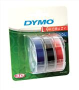 """DYMO 3D Mekanik Makine için Plastik Kabartma 9mm Şerit """"Siyah-Mavi-Kırmızı aynı Pakette"""" 3x6adet"""