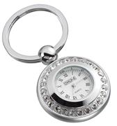 ONLINE Leather Crystallized® -Swarovski Tasarım Parlak Krom/Çelik Saat/Anahtarlık (7x3.5cm)