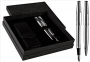 Cordial Style Parlak Gümüş Kare Çizgili Dolmakalem + Tükenmezkalem + Deri İkili Kılıf + Hediye Kutu