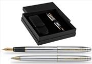 SCRIKSS 35 Parlak Krom/Altın Dolmakalem + Tükenmezkalem + İkili Kalem Kılıfı Hediye Kutu Set