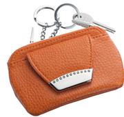ONLINE Leather Crystallized® -Swarovski Tasarım Deri Anahtarlık + Bozuk Para Cüzdanı - Juicy Mango