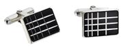 Waldmann Germany Siyah Lake/925 Som Gümüş Eşsiz X-style işlemeli Kol Düğmesi