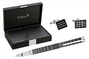 Waldmann Xetra 925 SomGümüş Siyah Lake Eşsiz X-style işlemeli Dolmakalem + Kol Düğmesi Hediye Takım
