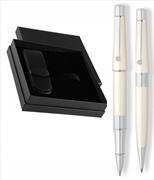 CROSS Beverly Parlak Lake İnci Beyaz Rollerkalem + Tükenmezkalem + İkili Deri Kalem Kılıfı Set