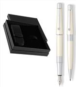 CROSS Beverly Parlak Lake İnci Beyaz Dolmakalem + Tükenmezkalem + İkili Deri Kalem Kılıfı Set