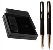 Oberthur Sirocco Mini Dolmakalem + Mini Tükenmezkalem + İkili Kalem Kılıfı Hediye Set - Siyah
