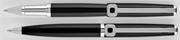 Oberthur Isis Siyah Parlak Lake Rollerkalem + Tükenmezkalem + İki Tekli Deri Kalem Kılıfı Hediye Set