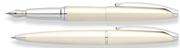 CROSS ATX İnci Beyaz/Parlak Krom Dolmakalem + Tükenmezkalem Set