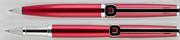 Oberthur Isis Kırmızı Saten Lake Rollerkalem+Tükenmezkalem+İki Tekli Kırmızı Deri Kalem Kılıfı Hediye Set