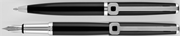 Oberthur Isis Saten Siyah Dolmakalem + Tükenmezkalem + İki Tekli Siyah Deri Kalem Kılıfı Hediye Set