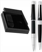 CROSS Beverly Parlak Lake Siyah/Krom Kemerli Rollerkalem + Tükenmezkalem + Deri İkili Kalem Kılıfı Hediye Set