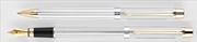 Scrikss 722W Balık Sırtı Desen Parlak Krom/Altın Dolmakalem + Tükenmezkalem Set