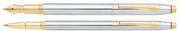 Cross Classic Century Medalist Slim Parlak Krom / Altın Dolma kalem + Roller kalem Takım