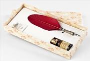 Bortoletti Fonderia Artistica Kırmızı Tüylü / Gümüş Divit Uçlu Kalem + Mürekkep