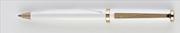 Oberthur Dünya Parlak Lake İnci Beyaz/Altın Tükenmez Kalem Tekli Deri Kılıf Hediyeli