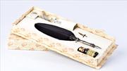 Bortoletti Fonderia Artistica Siyah Tüylü / Gümüş Divit Uçlu Kalem + Uç + Mürekkep - Büyük boy