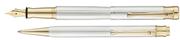 Waldmann Tango Çizgi İşlemeli 925 Gümüş - 24kt. AltınK. Dolmakalem + Tükenmezkalem Maun Kutulu Set