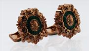 Orovento Mecidiye Medal1844 Gümüş Üzeri Altın Kaplama/Yeşil Mineli Kol Düğmesi