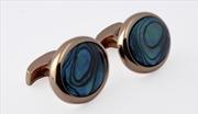 Orovento Blue Mother Of Pearl Oval Gümüş Üzeri Altın Kaplama/Okyanus Sedefi Kol Düğmesi