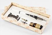 Bortoletti Murano Camı Gümüş Varaklı Siyah Gövde/Gümüş Divit Kalem + Kalem Koyma Aparatı + Uç + Mürekkep
