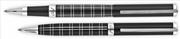 Cordial Gentle Siyah Kare Desen Gövde Çelik Aksam Rollerkalem + Tükenmezkalem Set
