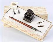 Bortoletti Ahşap Gövdeli/Gümüş Divit Uçlu Kalem + Özel Tasarım Mürekkep Şişesi/Gümüş Kalem Koyma Aparatlı