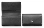 Graf Von Faber-Castell Saffiano Kabartmalı Siyah Deri Kartvizitlik