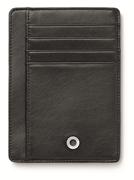 Graf Von Faber-Castell Klasik Pürüzsüz Siyah Deri Kredi Kartı Dikey Cüzdan