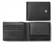 Graf Von Faber-Castell Saffiano Kabartmalı Siyah Deri Yatay Cüzdan 11.5x9cm