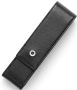 Graf Von Faber-Castell Saffiano Kabartmalı Siyah Deri Kalem Kılıfı İkili